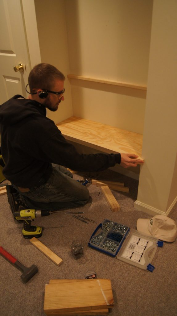 Installing the first shelf