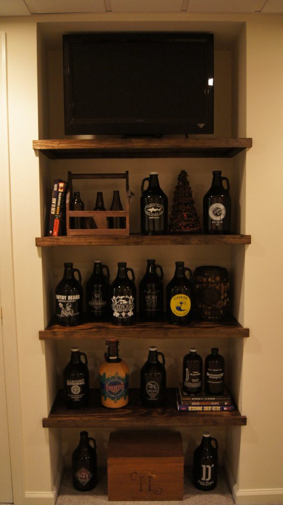 floating shelves in bar area